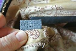 Sac à main épaule Gousset de Lancel bleu canard pétrole BE toile jouy original