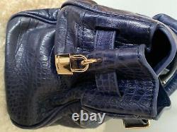 Sac a main femme cuir MAC DOUGLAS bleu occasion sans étiquette tres bon état