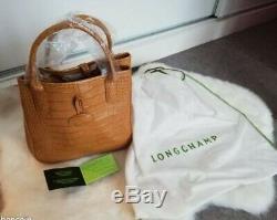Sac à main marque Longchamp neuf en peau de veau façon croco avec certificat