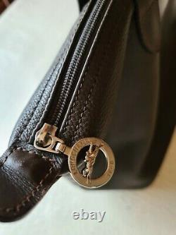 Sac à main marron Longchamp en cuir marron brun- veau foulonné porté épaule