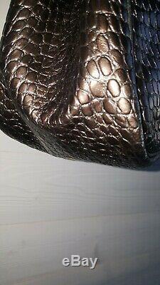 Sac a main vintage cuir longchamp roseaux gris irisé façon croco