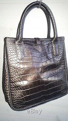 Sac a main vintage cuir longchamp roseaux gris irisé façon croco + dust bag