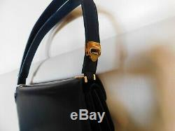 Sac à main vintage en cuir Guy Laroche bleu marine 26.5 cm x 18.5 cm