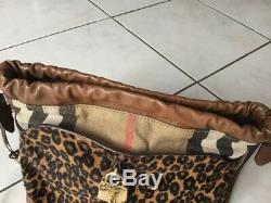 Sac bandoulière BURBERRY PRORSUM cuir, tartan et poils de leopard 1695