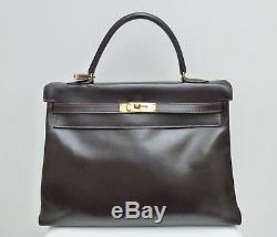 0fa17636a2 Sac hermes kelly 35 en box marron tres bon état 1949 hermes kelly brown box  bag