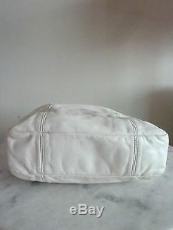 Sac à main CHANEL authentique Cuir Blanc Bandoulière Réglable Très Bon Etat