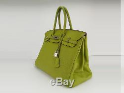 e89faf35bd Sac à main Hermès Birkin 35 en cuir togo Superbe couleur estival vert anis