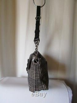Sac sonia rykiel tweed bleu marine et cuir noir
