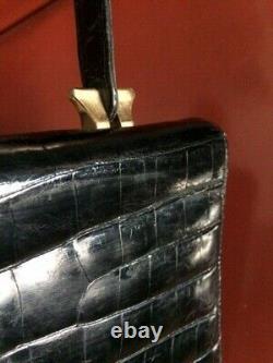 Sac vintage en véritable crocodile noir sac à main vintage
