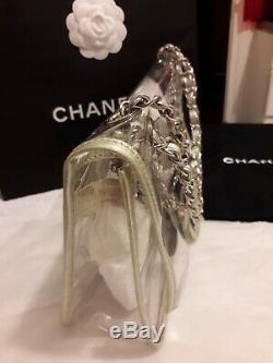 Sublime Sac CHANEL Timeless PVC et cuir argent champagne irisé GM Comme neuf