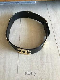 Superbe Et Authentique Ceinture Cuir Noir Chanel 70 Vintage Tbe