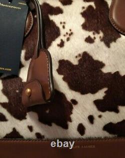 Superbe Noble Sac à Main Ralph Lauren Peau de Vache Marron Blanc cuir 100%neuf