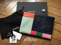 Superbe Pochette Chanel Cuir Multicolore Édition Collector AUTHENTIQUE
