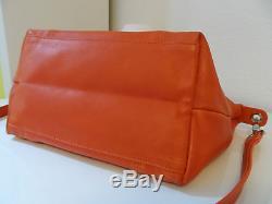 Superbe Rare Sac LONGCHAMP Pliage Cuir Orange Bandoulière Amovible et Porté Main