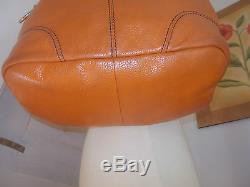 Superbe Sac LANCEL en cuir de vachette grainé orange modèle French Flair TBE