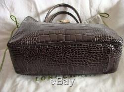 Superbe Sac Longchamp cuir roseau croco gris grand modèle bag Longchamp roseau
