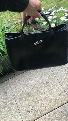 Superbe Sac à Main LONGCHAMP noir CUIR roseau grand modèle noir
