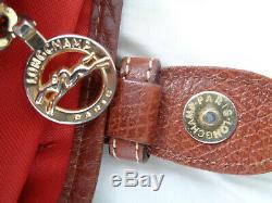 Superbe sac à main en toile & cuir LONGCHAMP TBEG authentique & vintage Bag