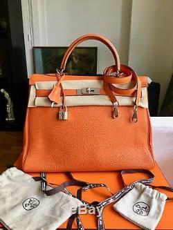7c77640220 Très beau sac HERMES Kelly 35 cm cuir Togo orange, excellent état