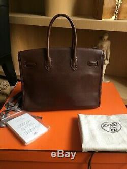 Très beau sac à main Hermès Birkin 35 Cuir Evergrain Havane, complet