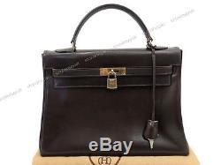 Vintage Sac A Main Hermes Kelly 32 CM Cuir Box Marron Brown Hand Bag Purse 7700