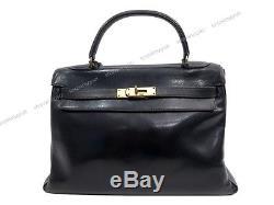 VINTAGE SAC A MAIN HERMES KELLY 33 CM 1973 EN CUIR BOX NOIR BLACK HAND BAG PURSE