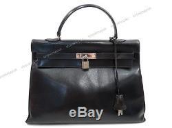Vintage Sac A Main Hermes Kelly 35 CM Annee 1969 En Cuir Box Noir Hand Bag 7700