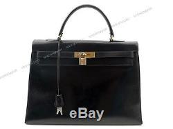 Vintage Sac A Main Hermes Kelly 35 CM Cuir Box Rigide 1959 Hand Bag Purse 7000
