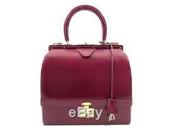 Vintage Sac A Main Hermes Mallette A Bijoux En Cuir Box Bordeaux Hand Bag Purse