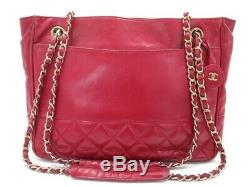Vintage Sac A Main Chanel Shopping Cabas Cuir Matelasse Rouge Red Hand Bag 3200