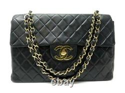 Vintage Sac A Main Chanel Timeless Maxi Jumbo En Cuir Matelasse Hand Bag 7100