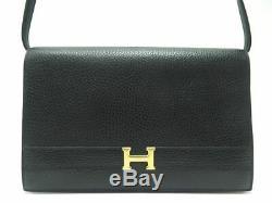 Vintage Sac A Main Hermes Annie Cuir Graine Noir Boucle H Dore Shoulder Hand Bag