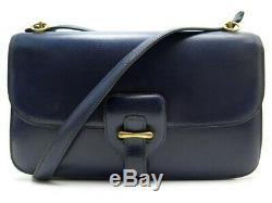 Vintage Sac A Main Hermes Balle De Golf En Cuir Box Bleu Bandouliere Bag 6850