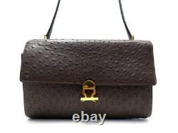 Vintage Sac A Main Hermes En Cuir D'autruche Marron Dore Ostrich Leather Handbag