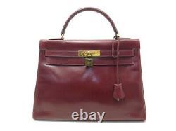Vintage Sac A Main Hermes Kelly 32 En Cuir Box Rouge Leather Hand Bag 7500