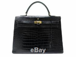 Vintage Sac A Main Hermes Kelly 35 Cuir De Crocodile Noir Leather Handbag 32000