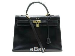 Vintage Sac A Main Hermes Kelly 35 En Cuir Box Noir Bandouliere Hand Bag 7700