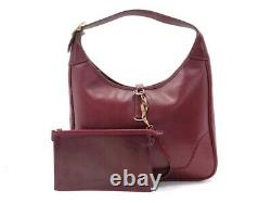Vintage Sac A Main Hermes Trim En Cuir Box Bordeaux Pochette Handbag Purse 2810