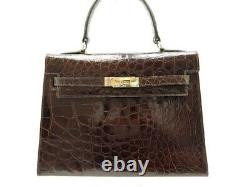 Vintage Sac A Main Kelly En Cuir De Crocodile Marron Brown Leather Hand Bag