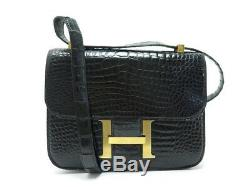 Vintage Sac A Main Style Constance H Bandouliere Cuir De Crocodile Noir Hand Bag