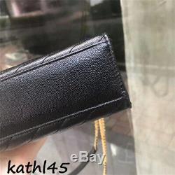 ++nwt Authentic Ysl Saint Laurent Black Medium Monogram Envelope Flap Bag Gold++